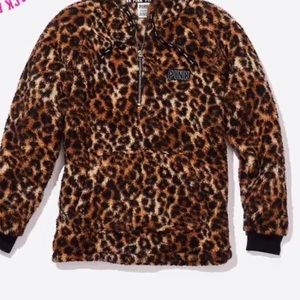 PINK Cheetah Print Sherpa Sweater